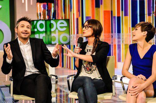 Frank Blanco, Ana Morgade y Sara Escudero en la rueda de prensa del primer aniversario de 'Zapeando'