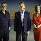 Andreu Buenafuente, Matías Prats y Mónica Carrillo en la campaña navideña de Atresmedia