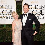 Anna Faris y Chris Pratt en los Globos de Oro 2015