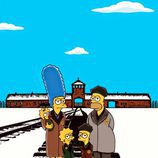 El artista italiano refleja a 'Los Simpson' en las instalaciones del campo de concentración