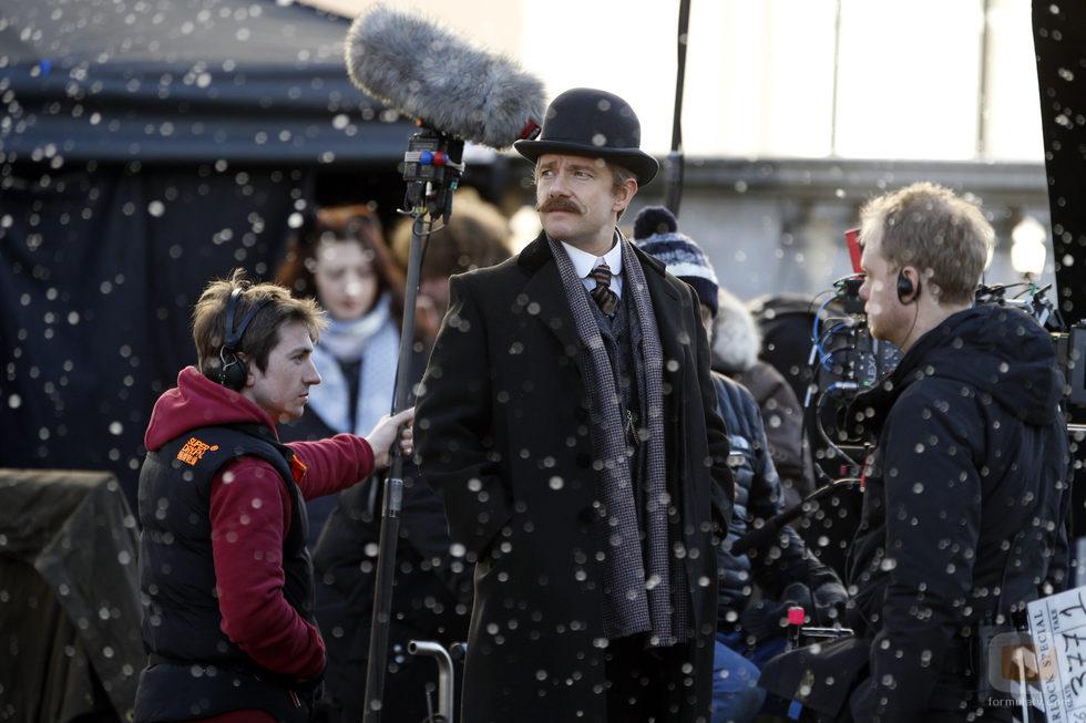 Martin Freeman rodando el especial de Navidad 2015 de 'Sherlock'