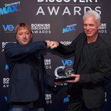 Josu Feijoo y Jeremy Wade en los Born to be Discovery Awards 2015
