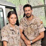 Hugo Silva y Blanca Suarez caracterizados como soldados en 'Los nuestros'