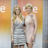 Edurne y Anne Igartiburu en la rueda de prensa días antes del Festival de Eurovisión 2015