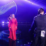 Edurne, con su vestido rojo durante el primer ensayo del 'Festival Eurovisión 2015'