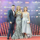 Giuseppe di Bella, Edurne y Miryam Benedited en la Ceremonia de Bienvenida del Ayuntamiento de Viena