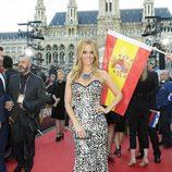 Edurne en la alfombra roja en la Ceremonia de Bienvenida en Viena