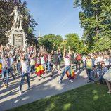 Edurne aplaude el flashmob coreografiado por Miryam Benedited y Giuseppe Di Bella