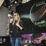 Ensayos de Edurne en el Eurovision Village de Viena en Eurovisión 2015