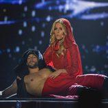 Edurne y Giuseppe Di Bella en el segundo ensayo de España en Eurovisión 2015