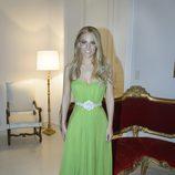Edurne con un vestido verde en la Embajada de España en Viena