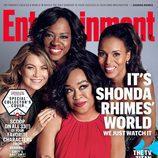Shonda Rhimes junto a Ellen Pompeo, Kerry Washington y Viola Davis, portada de revista