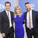 Diego Losada, Ana Ibáñez y Roi Groba, presentadores del Telediario Matinal