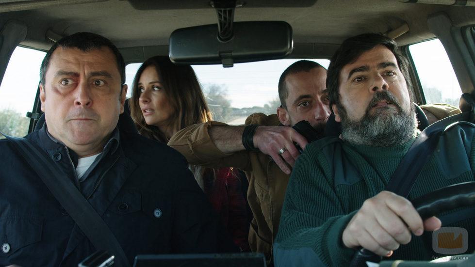 Mario, Marta y Crespo en un coche en 'Rabia'