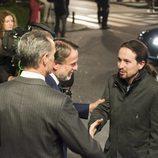 Pablo Iglesias llegando a los estudios de Atresmedia para asistir a '7d: el debate decisivo'