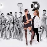 Noelia López, rodeada de hombres desnudos