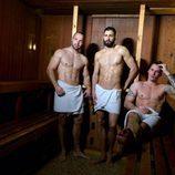 Diego, David y Ramiro, de 'Un príncipe para 3 princesas' posan desnudos en una sauna