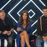 Carlos Lozano, Raquel Bollo y Alejandro Nieto en la sala de expulsión de 'Gran Hermano Vip'