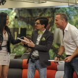 Laura Campos, Dani Santos y Carlos Lozano en la gala 12 de 'Gran Hermano VIP'