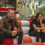 Carlos Lozano y Laura Matamoros sonrientes la gala 14 de 'Gran Hermano VIP'
