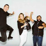 Carlos Jean, Josef Ajram y Martina Klein saltando para el canal TEN