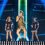 Barei junto a sus coristas en el segundo ensayo de Eurovisión 2016