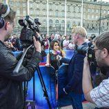 Barei atiende a los periodistas en la alfombra roja de Eurovisión 2016