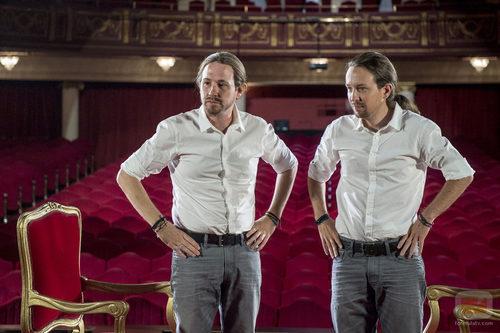 Joaquín Reyes y Pablo Iglesias después de la caracterización en 'Feis tu feis'
