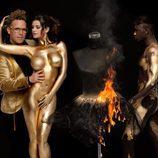 Los pechos de Lola Ortiz ('Supervivientes') cubiertos de oro