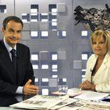 Zapatero y Teresa Campos en el programa 'La mirada critica' de Telecinco