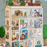 La casa de 'Sálvame' con todo su equipo, por Javier Mariscal