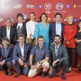 Eva González, jurado y concursantes en la presentación de 'MasterChef Celebrity'