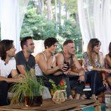 Javián, Naím Thomas, Rosa, Àlex, Gisela y Nuria Fergó durante la segunda entrega de 'OT. El reencuentro'