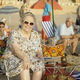 María Galiana sonríe durante el rodaje de 'Cuéntame cómo pasó' en Benidorm