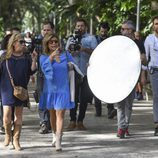 El set de grabación del reality 'Las Campos' grabando por las calles de Málaga