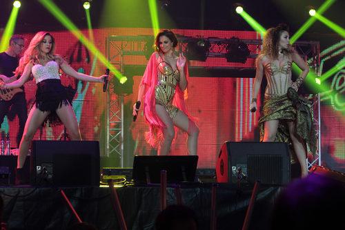 Natalia Rodríguez, Nuria Fergó y Gisela durante el concierto de 'OT. El reencuentro'