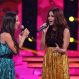 Lorena Gómez canta junto a India Martínez durante la quinta gala de 'Tu cara me suena'