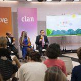 Eladio Jareño, Yago Fandiño y Lucrecia en la presentación de 'Lunnis de Leyenda'