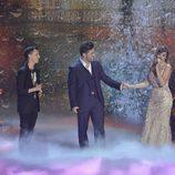 David Bustamante interpreta una canción junto a Sahra y Mario en las semifinales de 'La Voz'