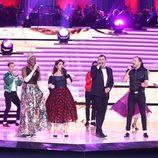 Lucrecia, Llum Barrera, Juanjo Pardo y Alex O'Dogherty actuando en la Gala de los 60 años de TVE