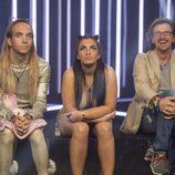 Aless Gibaja, Elettra Lamborghini y Alejandro Abad en la sala de expulsión de 'GH VIP 5'