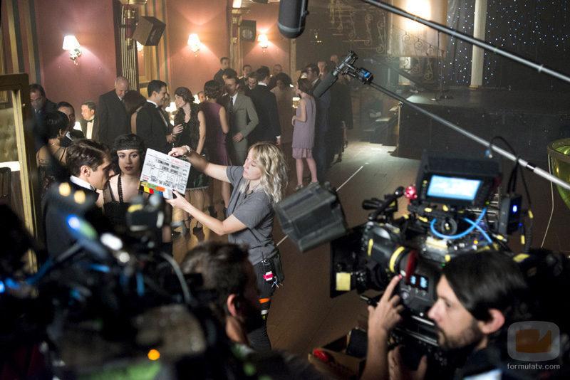 Blanca Suárez durante un momento del rodaje de 'Las chicas del cable'