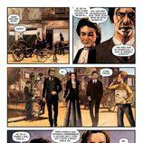 Amelia, Julián y Alonso viajan al año 1865 en una de las páginas del cómic de 'El Ministerio del Tiempo'