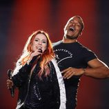 Valentina Monetta y Jimmie Wilson (San Marino) en la Segunda Semifinal de Eurovisión 2017