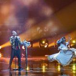 Joci Papai (Hungría) en la Final de Eurovisión 2017