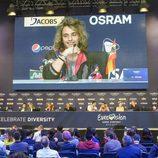 Manel Navarro en la rueda de prensa del Big Five del Festival de Eurovisión 2017
