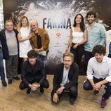 El elenco de 'Fariña' durante la rueda de prensa
