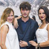 Javier Rey, Marta Larralde y Jana Pérez en la rueda de prensa de 'Fariña'