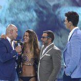 Kiko Matamorros, Laura Matamoros, Diego Matamoros y Jorge Javier Vázquez en la gala final de 'Supervivientes 2017'