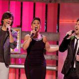 Fran Dieli, Rosa López y Jon Allende cantando en '¡Qué tiempo tan feliz!'